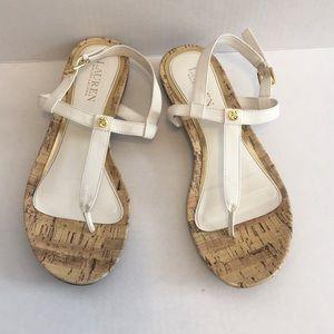 Lauren Ralph Lauren White & Cork Sandals